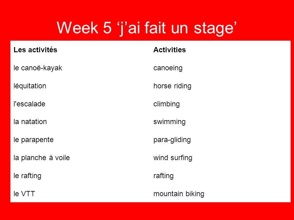 Week 5 jai fait un stage The past tense Jai acheté, regardé, aimé, mangé, visité, marché.