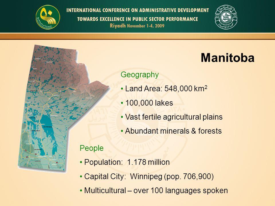 3 Manitoba Geography Land Area: 548,000 km 2 100,000 lakes Vast fertile agricultural plains Abundant minerals & forests People Population: 1.178 milli
