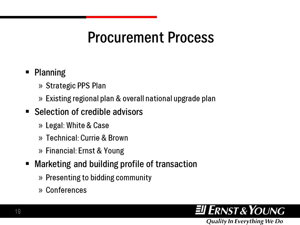 19 Procurement Process Planning » Strategic PPS Plan » Existing regional plan & overall national upgrade plan Selection of credible advisors » Legal: White & Case » Technical: Currie & Brown » Financial: Ernst & Young Marketing and building profile of transaction » Presenting to bidding community » Conferences