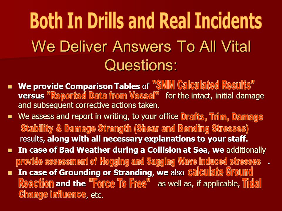 We Deliver Answers To All Vital Questions: We We provide Comparison Tables Tables of versus for the intact, initial damage and subsequent corrective a