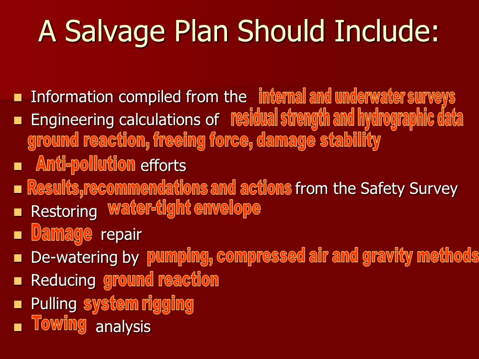 A Salvage Plan Should Include: Information compiled from the Information compiled from the Engineering calculations of Engineering calculations of efforts efforts from the Safety Survey from the Safety Survey Restoring Restoring repair repair De-watering by De-watering by Reducing Reducing Pulling Pulling analysis analysis