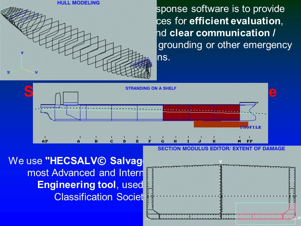 The following features of HECSALV© demonstrate the power of the program we use: Calculation of damaged condition while free floating and comparison of alternative scenarios.