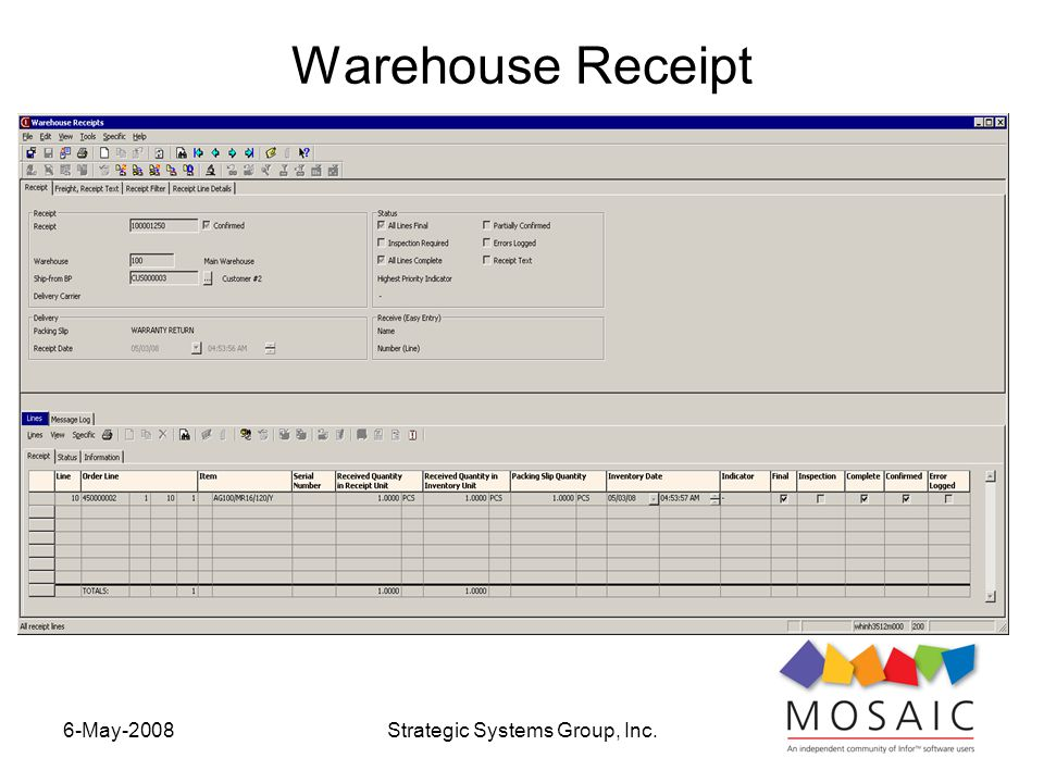6-May-2008Strategic Systems Group, Inc. Warehouse Receipt