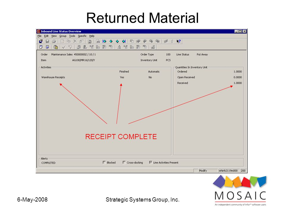 6-May-2008Strategic Systems Group, Inc. Returned Material RECEIPT COMPLETE