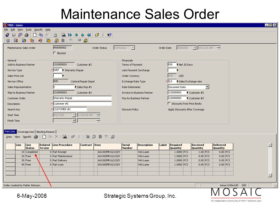 6-May-2008Strategic Systems Group, Inc. Maintenance Sales Order