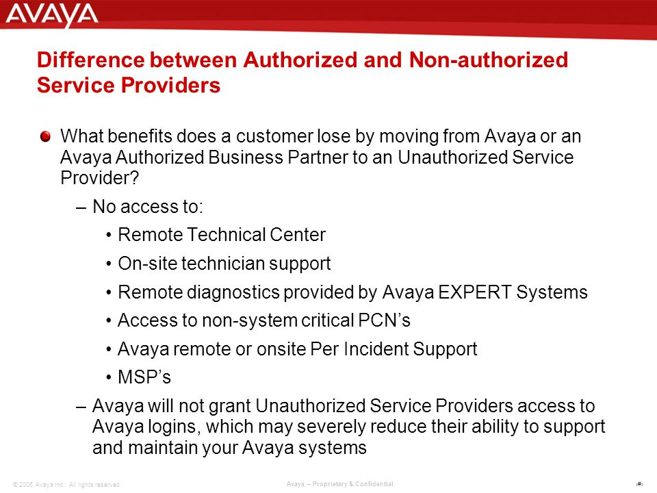 7 © 2006 Avaya Inc. All rights reserved. Avaya – Proprietary & Confidential.