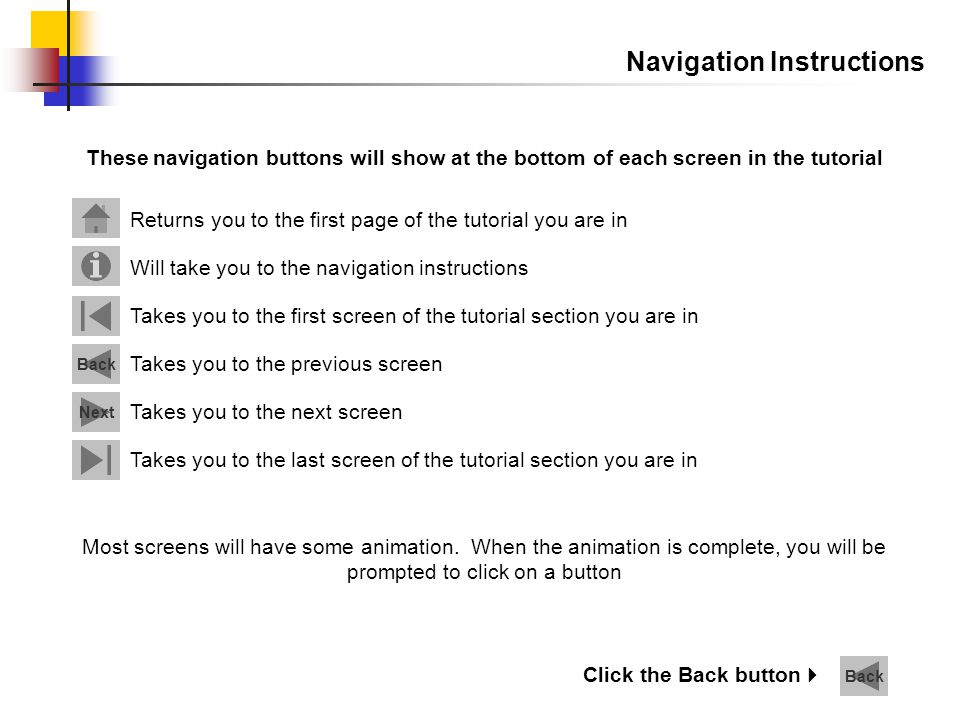 Navigation Instructions Returns you to the first page of the tutorial you are in Will take you to the navigation instructions Next Back Takes you to t