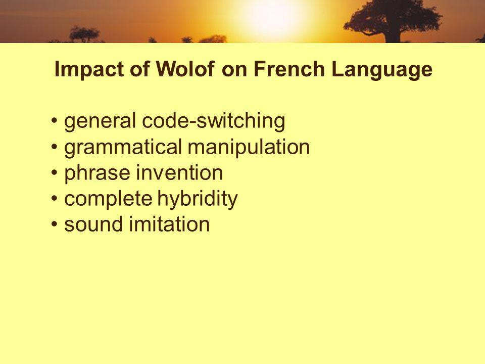 general code-switching grammatical manipulation phrase invention complete hybridity sound imitation Impact of Wolof on French Language