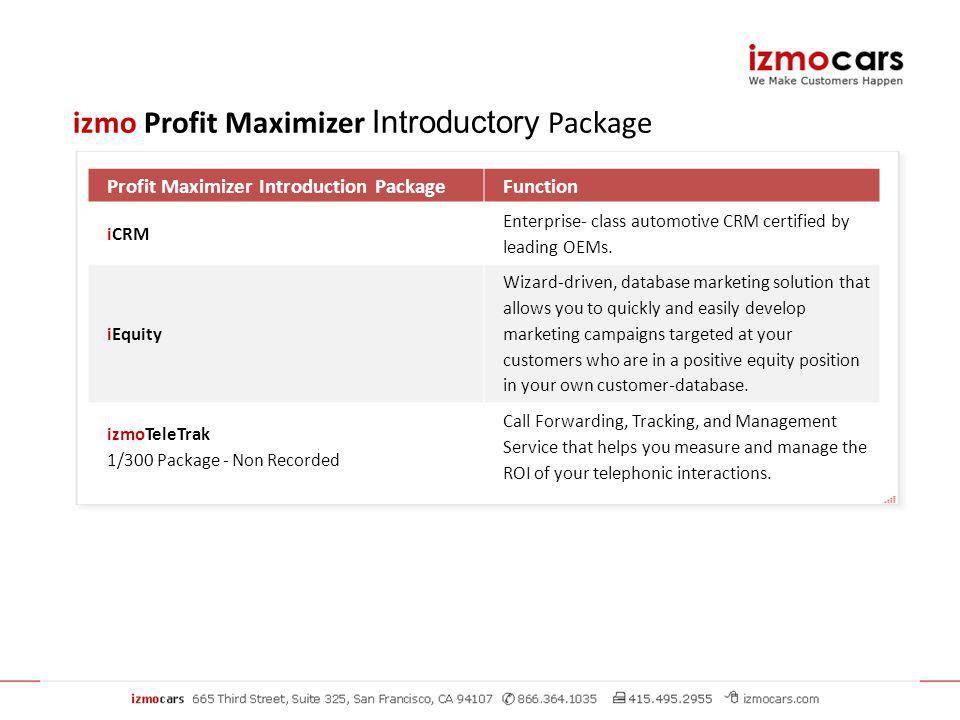 Profit Maximizer Introduction PackageFunction iCRM Enterprise- class automotive CRM certified by leading OEMs.