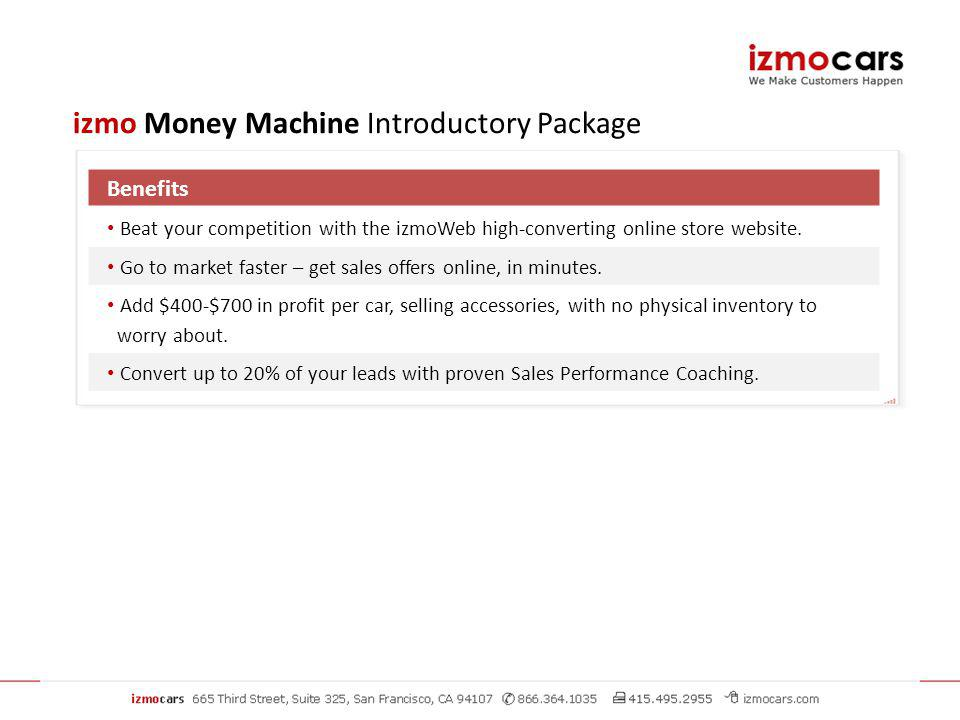 Benefits Beat your competition with the izmoWeb high-converting online store website.