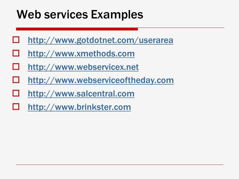Web services Examples http://www.gotdotnet.com/userarea http://www.xmethods.com http://www.webservicex.net http://www.webserviceoftheday.com http://www.salcentral.com http://www.brinkster.com