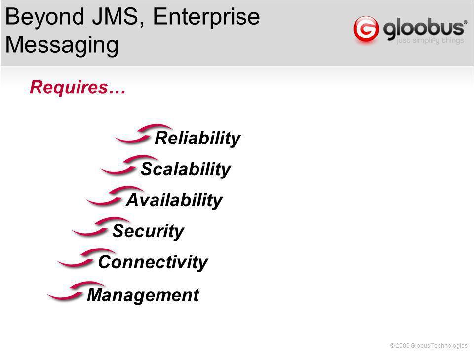© 2006 Globus Technologies Beyond JMS, Enterprise Messaging Security Requires… ConnectivityAvailabilityReliabilityScalabilityManagement