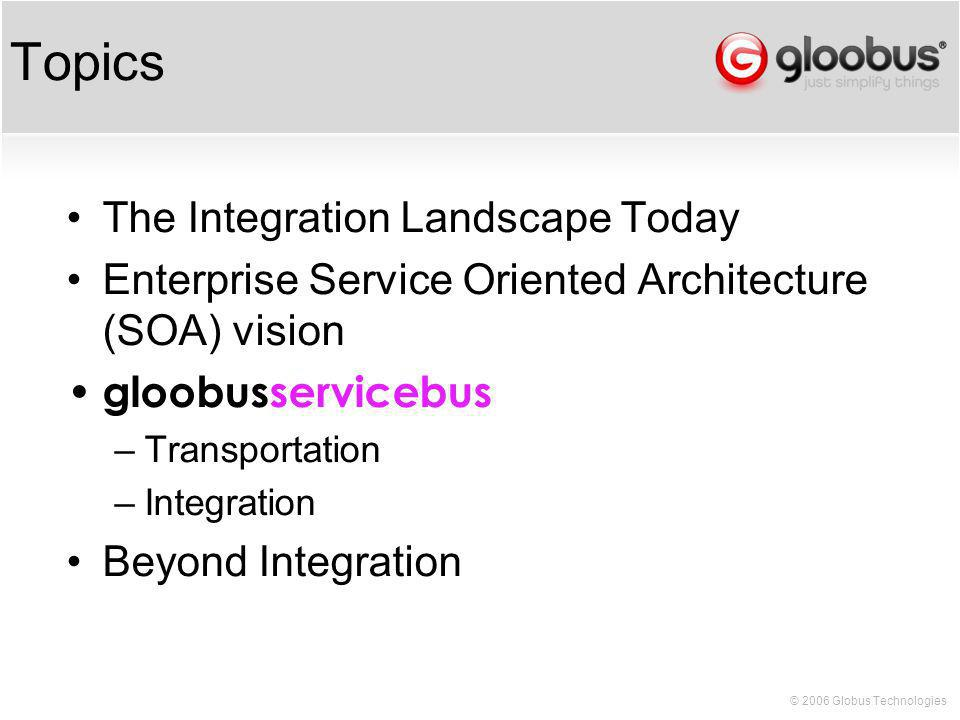 © 2006 Globus Technologies Topics The Integration Landscape Today Enterprise Service Oriented Architecture (SOA) vision gloobusservicebus –Transportation –Integration Beyond Integration