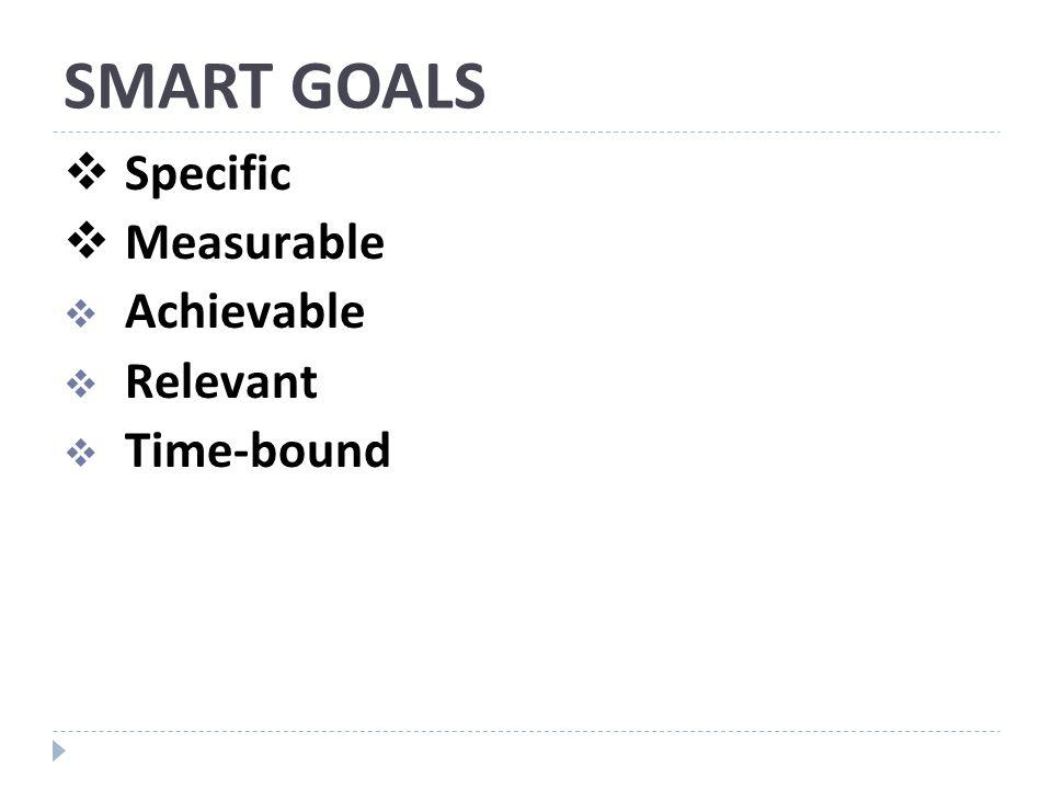 SMART GOALS Specific Measurable Achievable Relevant Time-bound