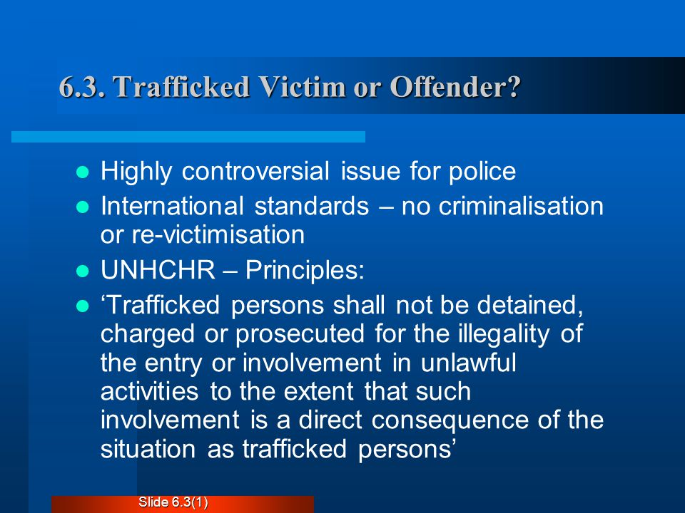 6.3. Trafficked Victim or Offender.