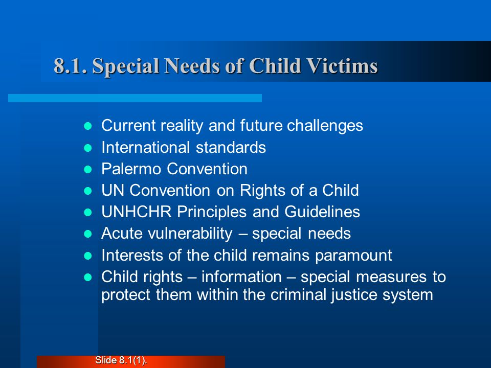 8.1. Special Needs of Child Victims Current reality and future challenges International standards Palermo Convention UN Convention on Rights of a Chil