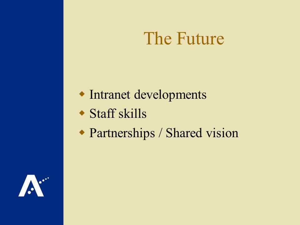 The Future Intranet developments Staff skills Partnerships / Shared vision