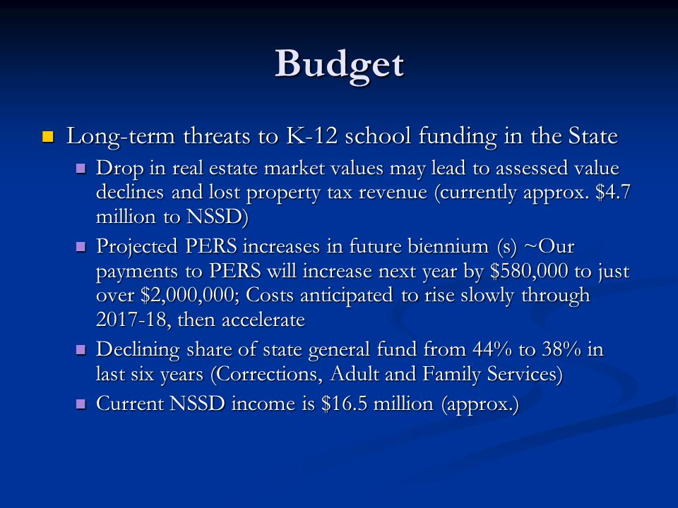 Budget Long-term threats to K-12 school funding in the State Long-term threats to K-12 school funding in the State Drop in real estate market values m