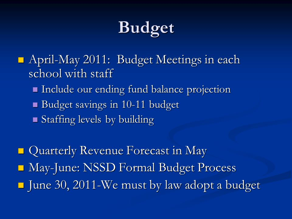 Budget April-May 2011: Budget Meetings in each school with staff April-May 2011: Budget Meetings in each school with staff Include our ending fund bal