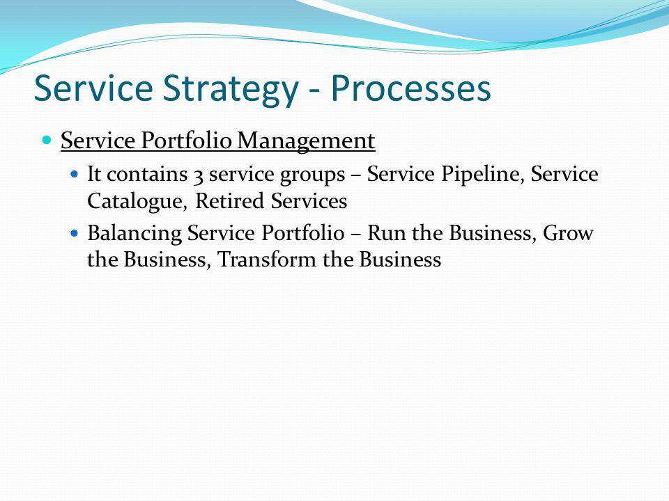 Service Strategy - Processes Service Portfolio Management It contains 3 service groups – Service Pipeline, Service Catalogue, Retired Services Balanci