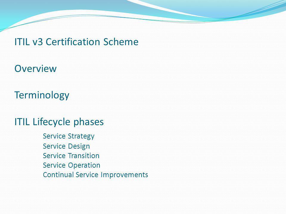 ITIL v3 Certification Scheme This presentation is on ITIL v3 Foundation Certificate