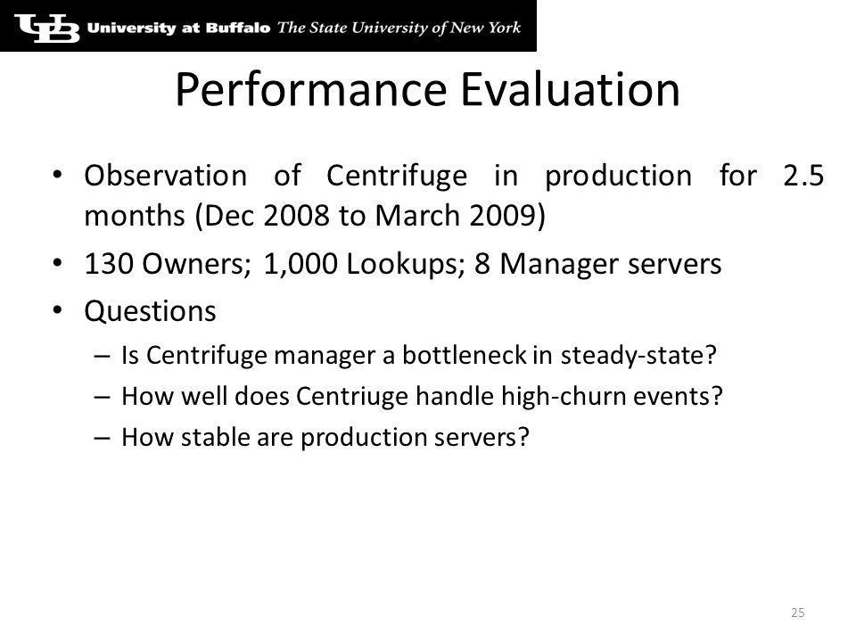 Performance Evaluation Observation of Centrifuge in production for 2.5 months (Dec 2008 to March 2009) 130 Owners; 1,000 Lookups; 8 Manager servers Questions – Is Centrifuge manager a bottleneck in steady-state.