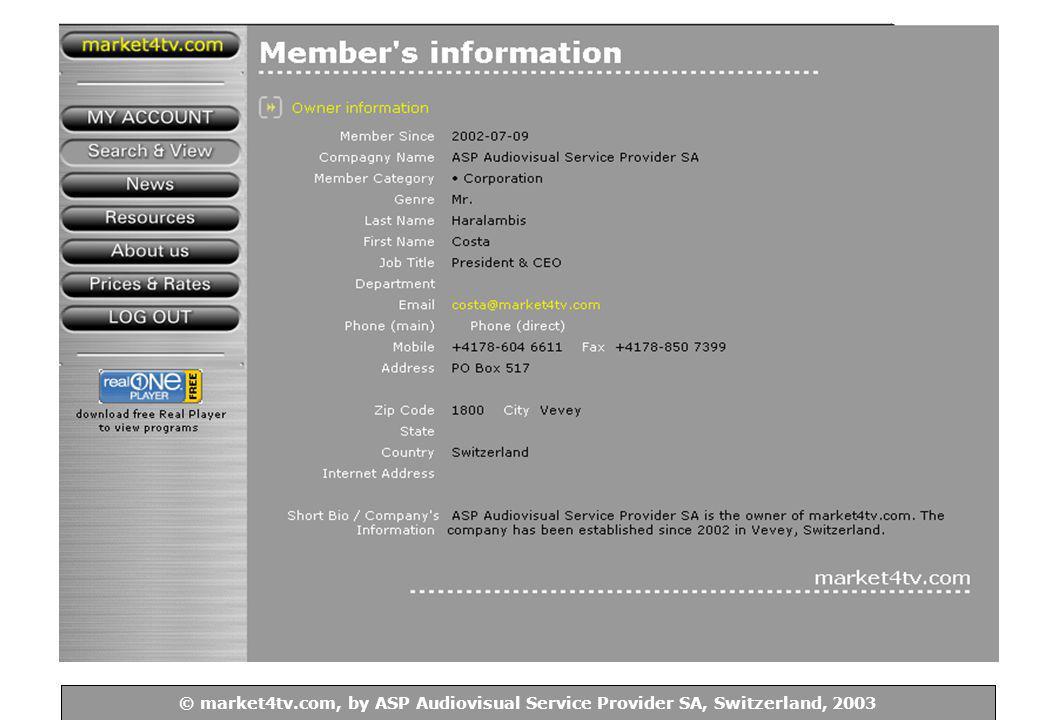 © ASP Audiovisual Service Provider SA, Switzerland, 2003 © market4tv.com, by ASP Audiovisual Service Provider SA, Switzerland, 2003 2d.