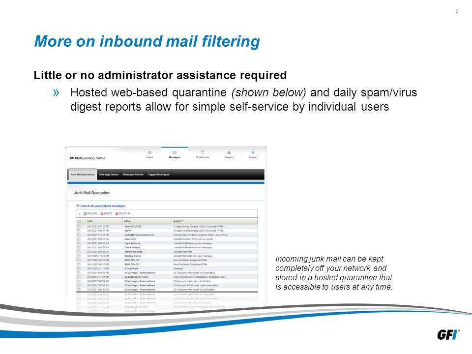 6 More on inbound mail filtering Little or no administrator assistance required » Hosted web-based quarantine (shown below) and daily spam/virus digest reports allow for simple self-service by individual users Incoming junk mail can be kept completely off your network and stored in a hosted quarantine that is accessible to users at any time.