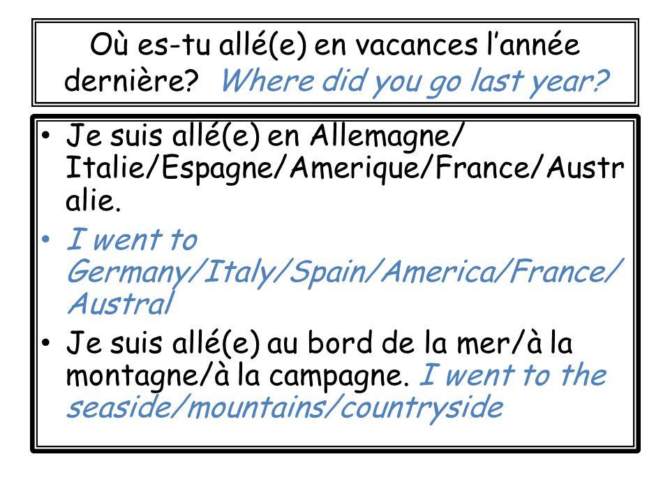 Où es-tu allé(e) en vacances lannée dernière. Where did you go last year.
