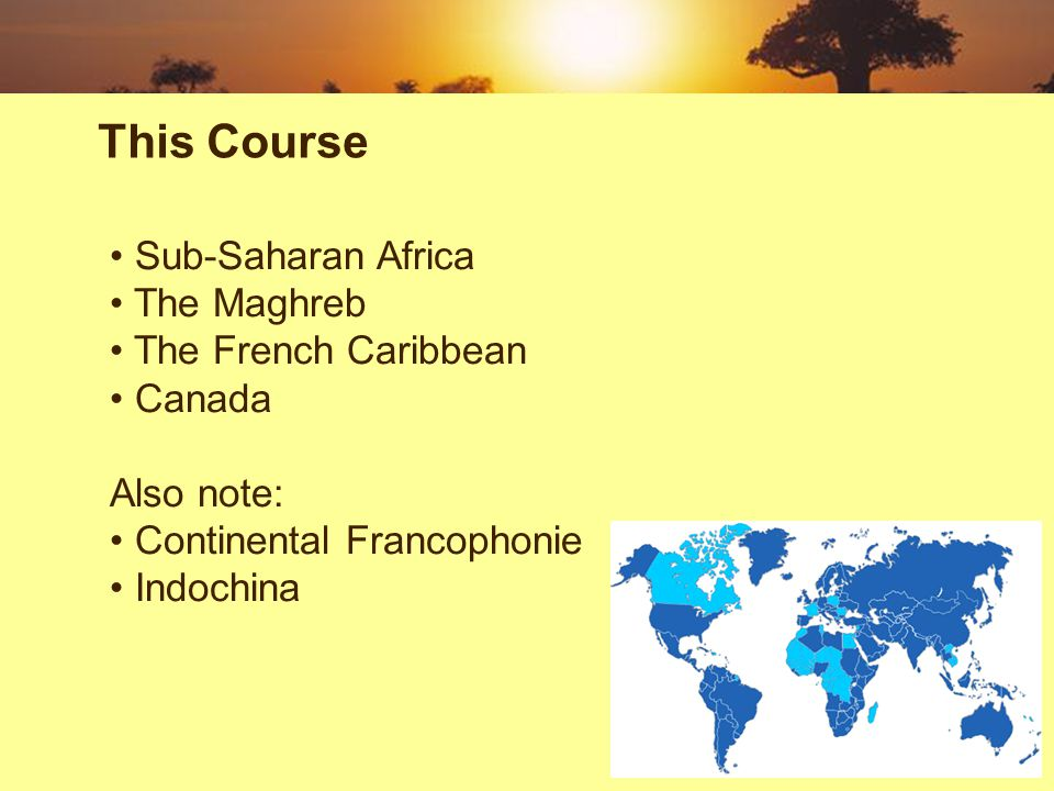 Sub-Saharan Africa The Maghreb The French Caribbean Canada Also note: Continental Francophonie Indochina This Course