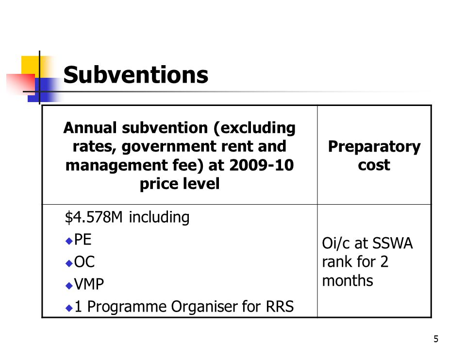 5 Subventions Annual subvention (excluding rates, government rent and management fee) at 2009-10 price level Preparatory cost $4.578M including PE OC VMP 1 Programme Organiser for RRS Oi/c at SSWA rank for 2 months