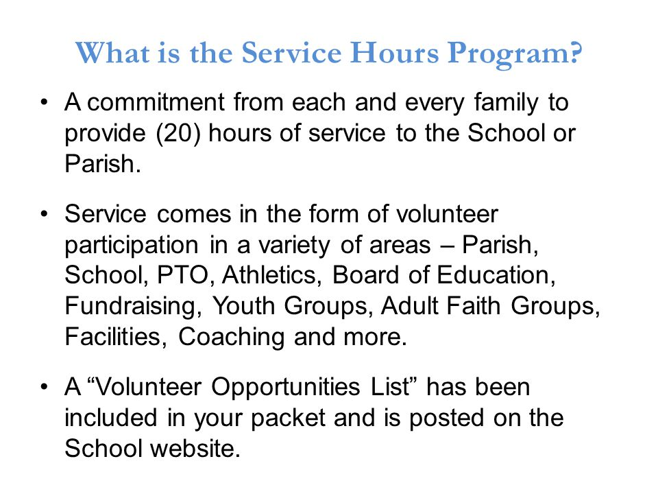 What is the Service Hours Program.