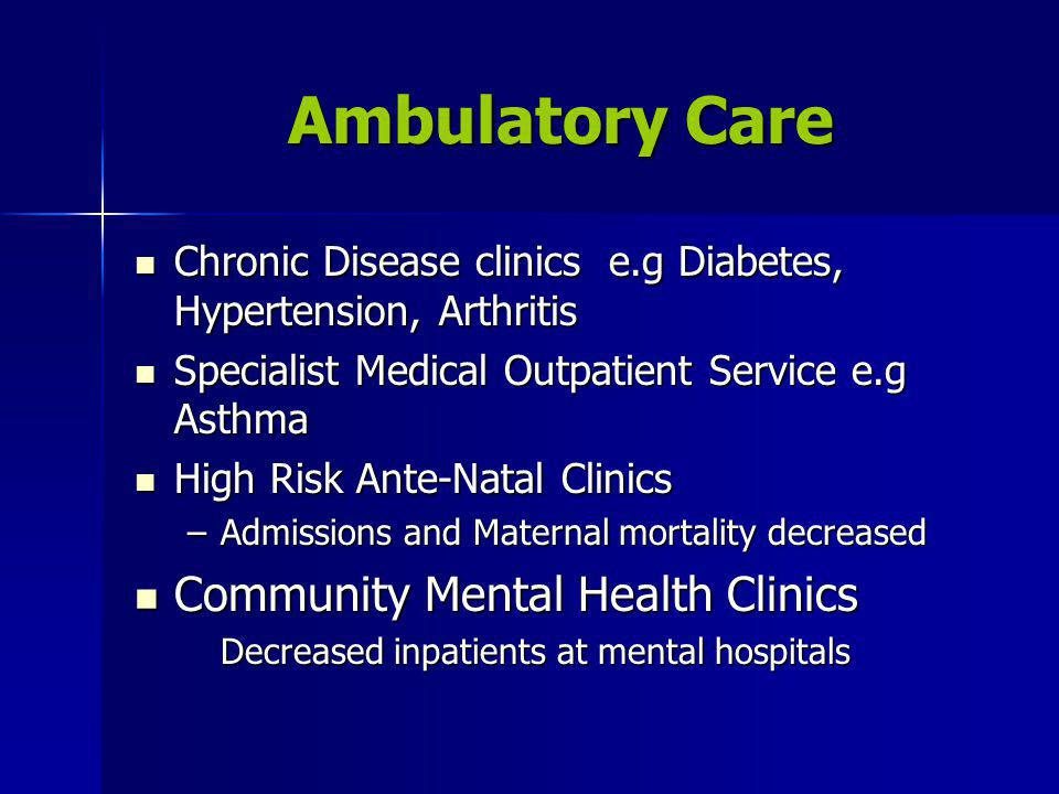 Ambulatory Care Chronic Disease clinics e.g Diabetes, Hypertension, Arthritis Chronic Disease clinics e.g Diabetes, Hypertension, Arthritis Specialist Medical Outpatient Service e.g Asthma Specialist Medical Outpatient Service e.g Asthma High Risk Ante-Natal Clinics High Risk Ante-Natal Clinics –Admissions and Maternal mortality decreased Community Mental Health Clinics Community Mental Health Clinics Decreased inpatients at mental hospitals