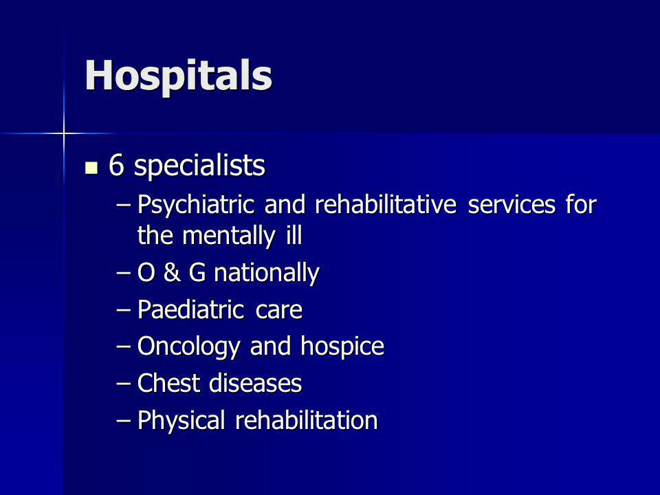 Hospitals 6 specialists 6 specialists –Psychiatric and rehabilitative services for the mentally ill –O & G nationally –Paediatric care –Oncology and hospice –Chest diseases –Physical rehabilitation