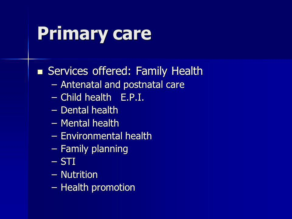 Primary care Services offered: Family Health Services offered: Family Health –Antenatal and postnatal care –Child health E.P.I.