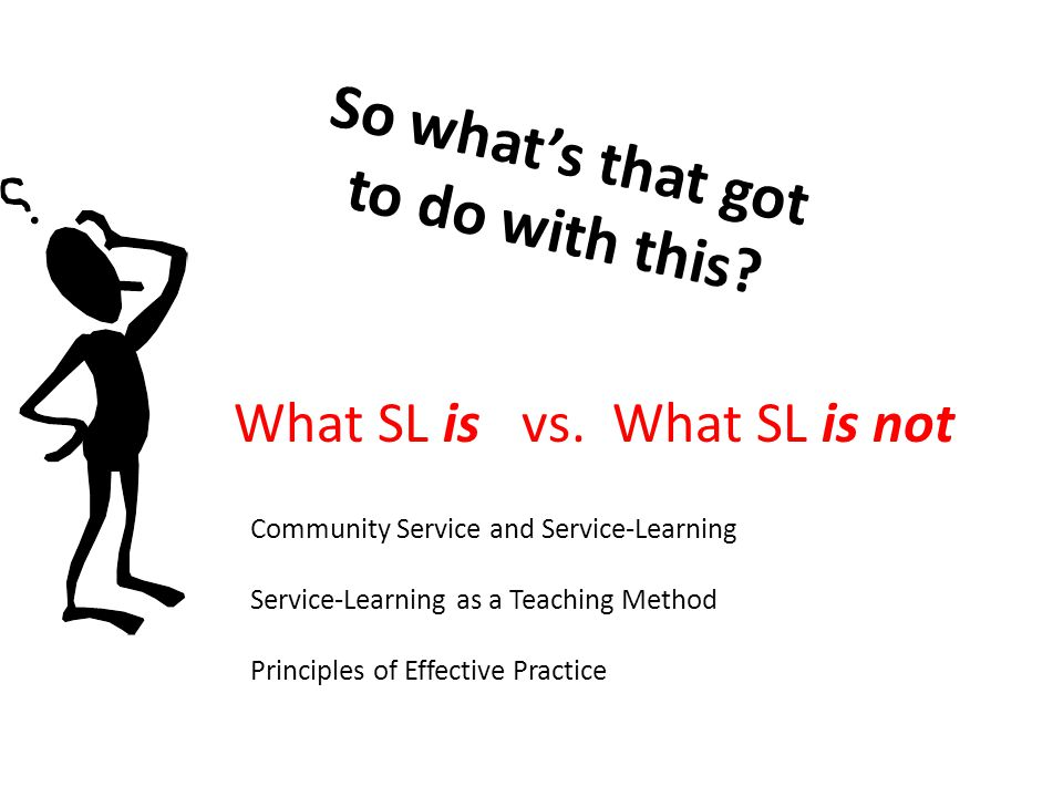 So whats that got to do with this? What SL is vs. What SL is not Community Service and Service-Learning Service-Learning as a Teaching Method Principl
