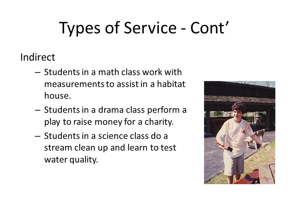 Types of Service - Cont Indirect – Students in a math class work with measurements to assist in a habitat house.