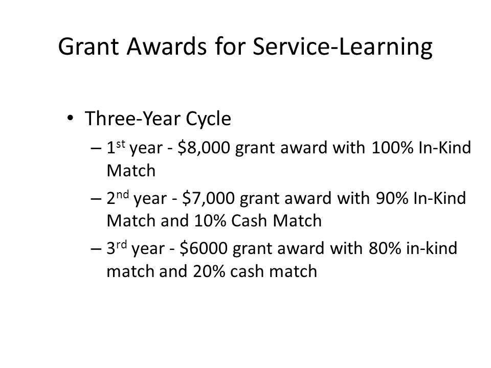 Grant Awards for Service-Learning Three-Year Cycle – 1 st year - $8,000 grant award with 100% In-Kind Match – 2 nd year - $7,000 grant award with 90%