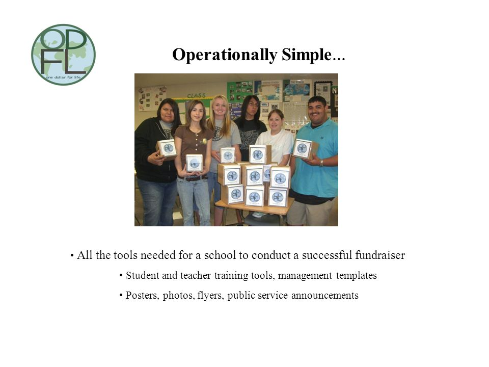 Operationally Simple … All the tools needed for a school to conduct a successful fundraiser Student and teacher training tools, management templates P