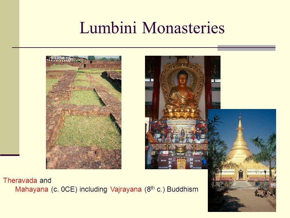 Lumbini Monasteries Theravada and Mahayana (c. 0CE) including Vajrayana (8 th c.) Buddhism