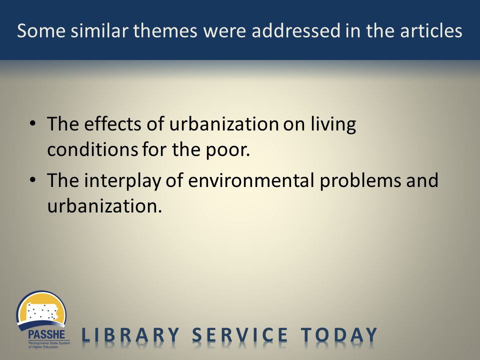 The effects of urbanization on living conditions for the poor. The interplay of environmental problems and urbanization.