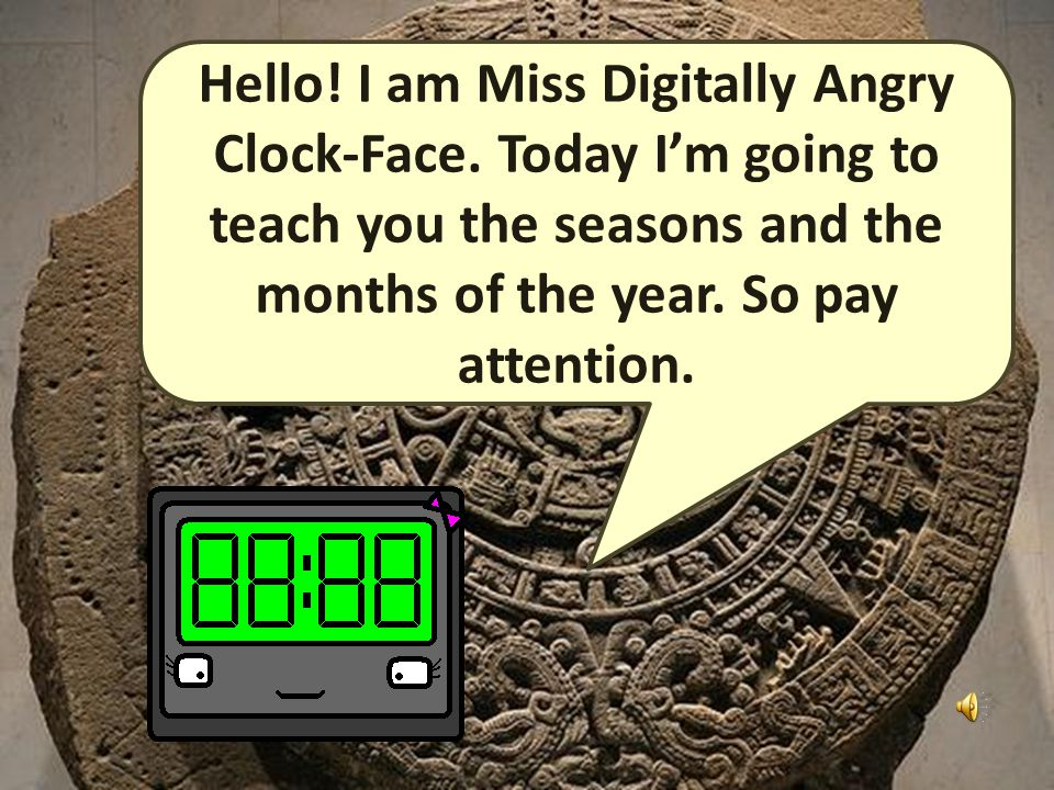 Handy Time Vocab 3 - Months and Seasons With Miss Digitally Angry Clock-Face