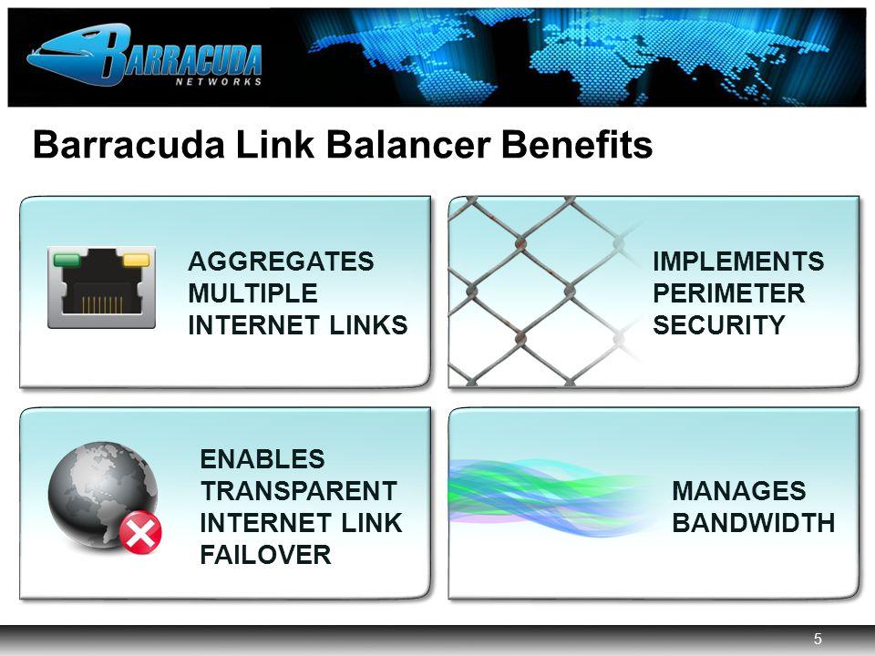 5 Barracuda Networks Confidential 5 Barracuda Link Balancer Benefits AGGREGATES MULTIPLE INTERNET LINKS IMPLEMENTS PERIMETER SECURITY ENABLES TRANSPARENT INTERNET LINK FAILOVER MANAGES BANDWIDTH
