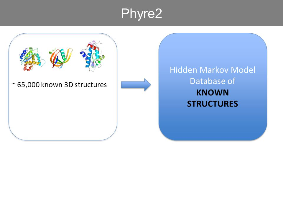 ~ 65,000 known 3D structures Phyre2 Hidden Markov Model Database of KNOWN STRUCTURES Hidden Markov Model Database of KNOWN STRUCTURES