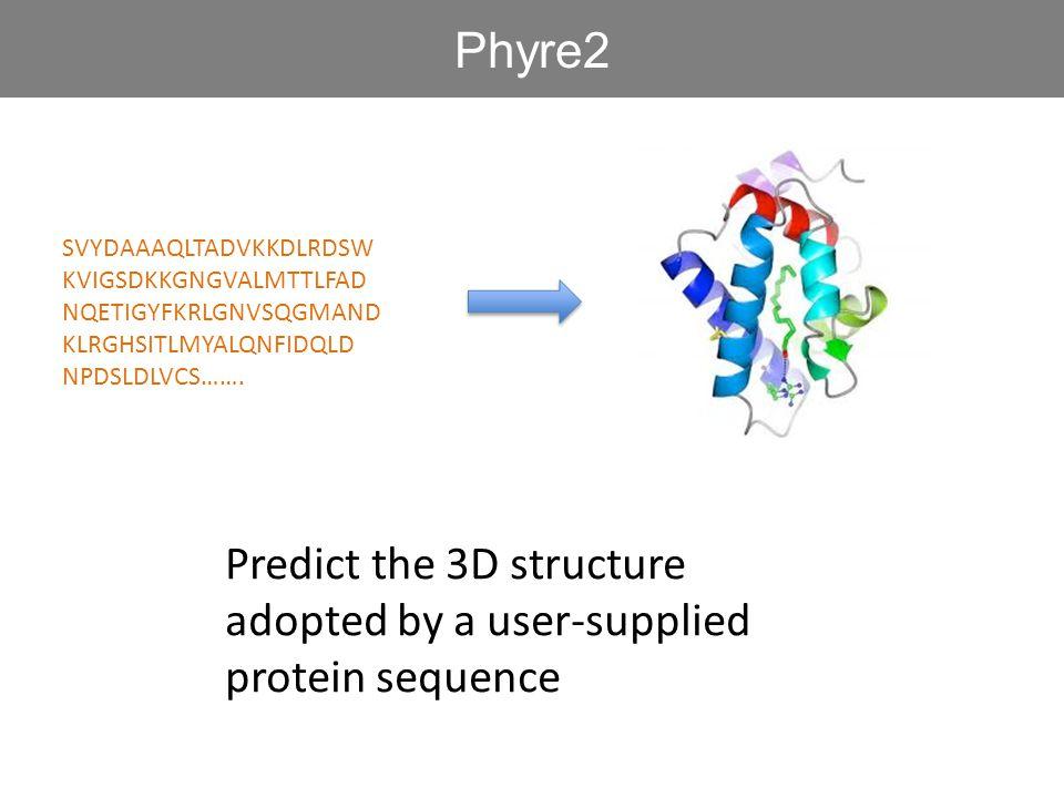 SVYDAAAQLTADVKKDLRDSW KVIGSDKKGNGVALMTTLFAD NQETIGYFKRLGNVSQGMAND KLRGHSITLMYALQNFIDQLD NPDSLDLVCS……. Predict the 3D structure adopted by a user-suppl