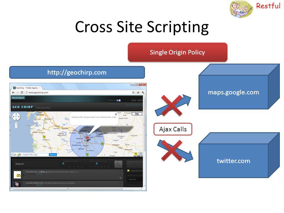 Restful Cross Site Scripting http://geochirp.com maps.google.com twitter.com Ajax Calls Single Origin Policy