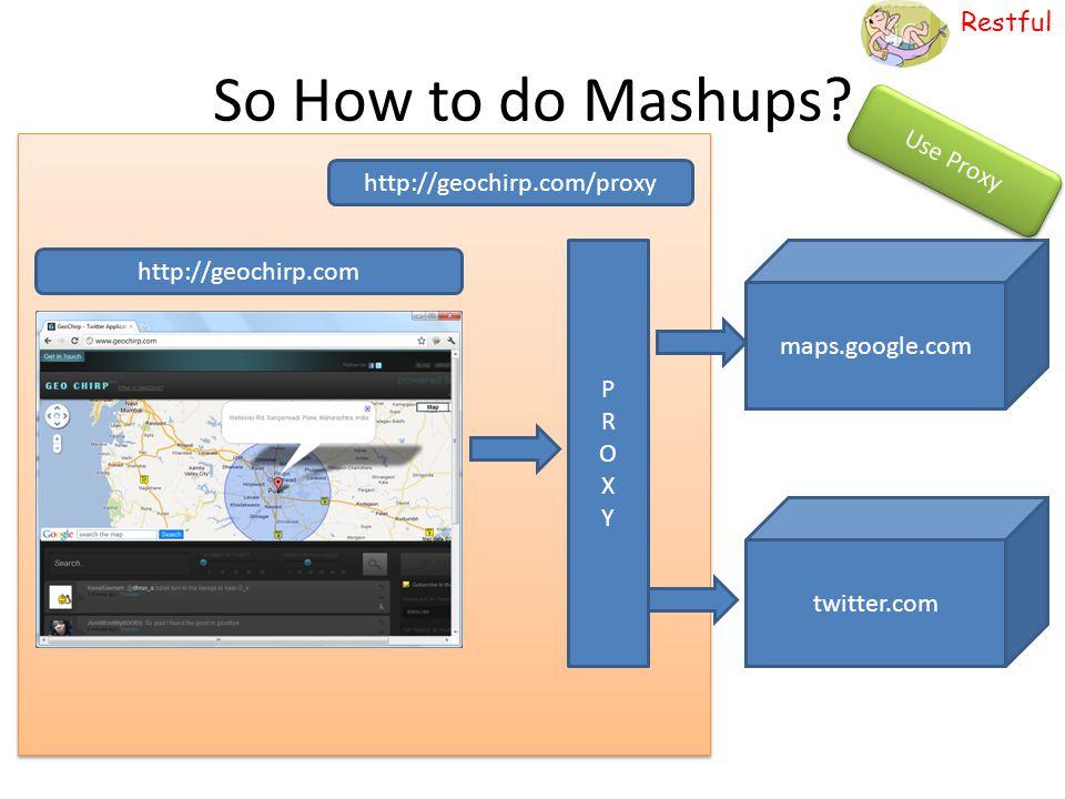 Restful So How to do Mashups? http://geochirp.com maps.google.com twitter.com PROXYPROXY http://geochirp.com/proxy Use Proxy
