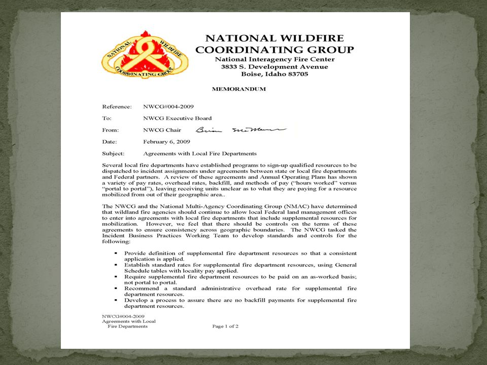 Agreements – Cooperative Wildland Fire Protection Agreements Cooperative Wildland Fire Protection Agreement between Federal and Local Agencies for Supplemental Resources.