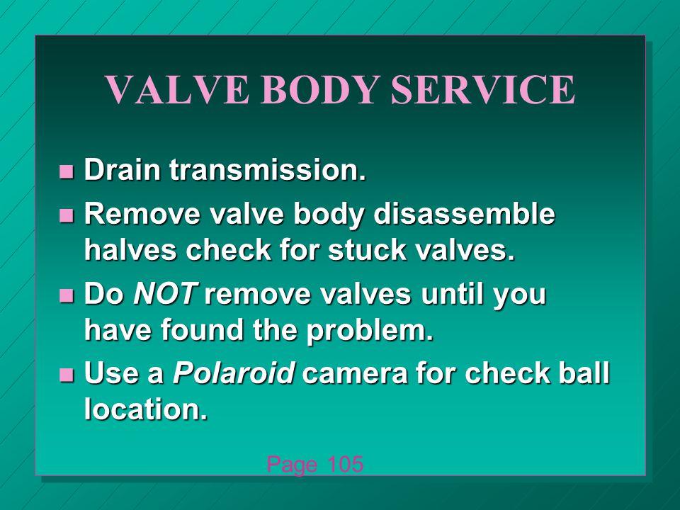 VALVE BODY SERVICE n Drain transmission.