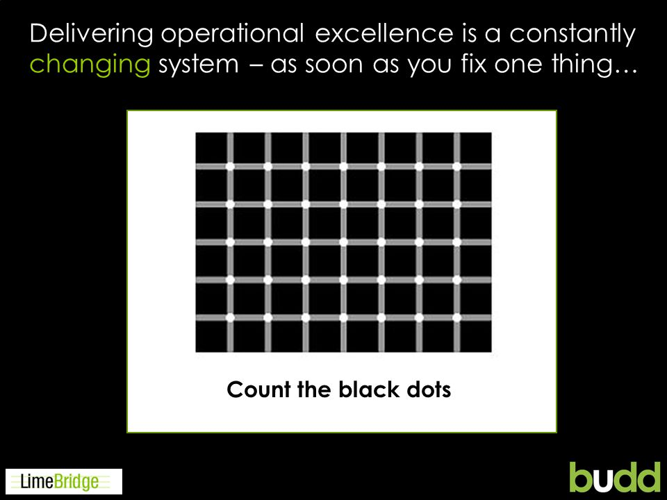 Delivering operational excellence is a constantly changing system – as soon as you fix one thing… Count the black dots